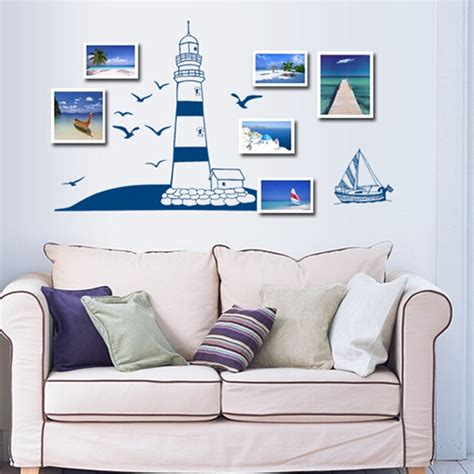 boat home decor sailing boat lighthouse sea gull wall sticker wall