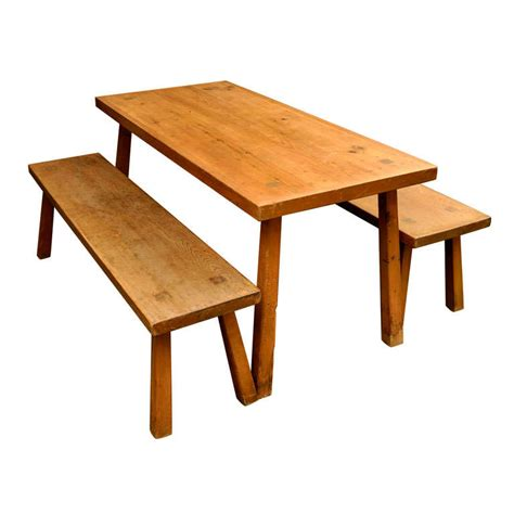 douglas fir dining table solid douglas fir dining table with benches at 1stdibs