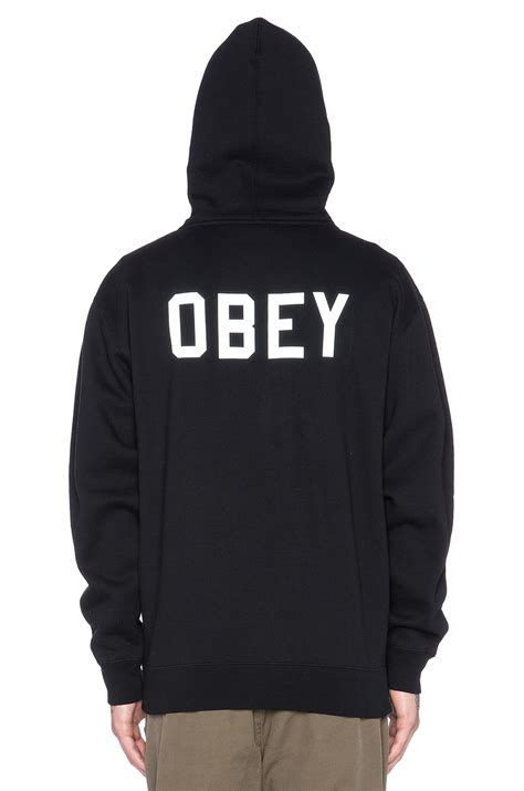 Hoodiezipper Obey obey collegiate reflective 2 zip hoodie in black for