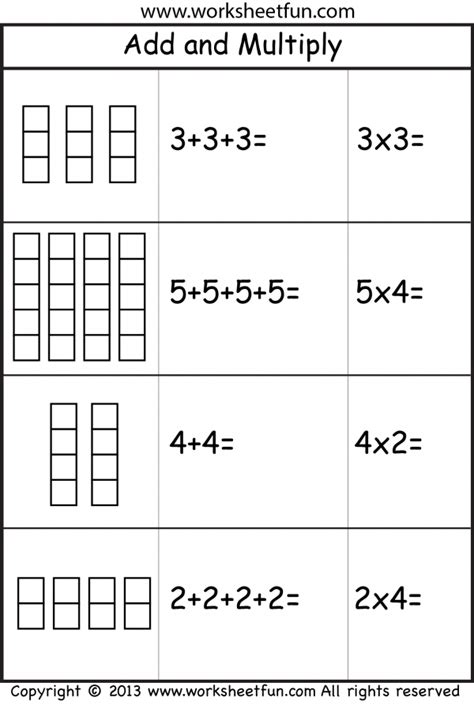 printable worksheets year 2 add and multiply repeated addition 2 worksheets