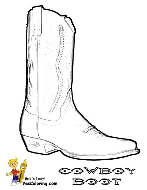 cowboy boot template boot coloring pages