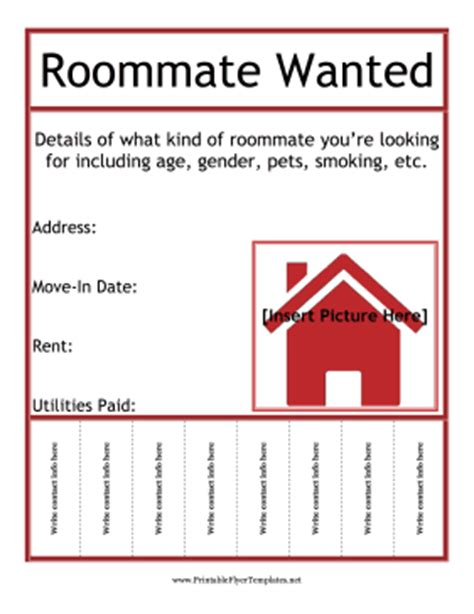 roommate template roommate wanted flyer