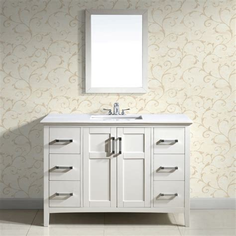 White Bathroom Vanity With Marble Top by Salem White 48 Inch Bath Vanity With 2 Doors And White