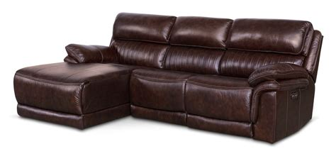 chocolate chaise monterey 3 piece power reclining sectional with left