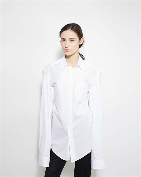 S White Sleeve Button Up Blouse by Vetements Sleeve Button Up Shirt In White Lyst