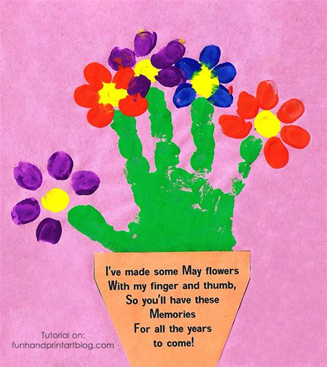Handprint Birthday Cards Handprint And Fingerprint Flowerpot With Poem For Mother S