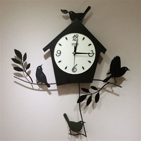 design wall clock birds house pattern modern design artistic wall clock