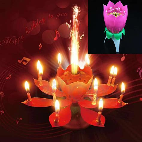 beautiful musical lotus flower rotating happy birthday