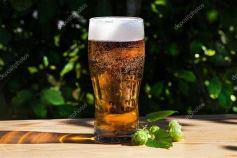 glas bier mit hopfen auf die h 246 lzerne sonne garten