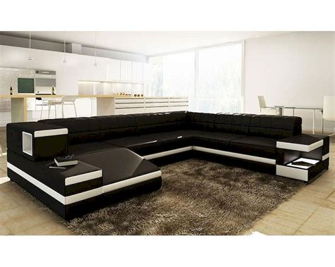black white bonded leather sectional sofa in modern style