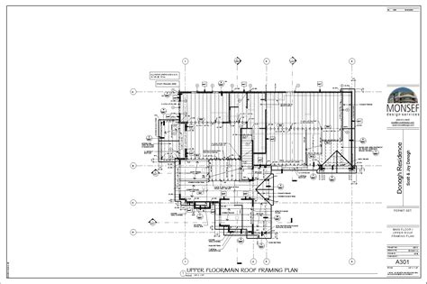 floor framing plan donogh residence sheet a301 main floor upper roof framing