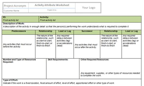 Sequence Activities Templates Project Management Templates Project Management Activity List Template
