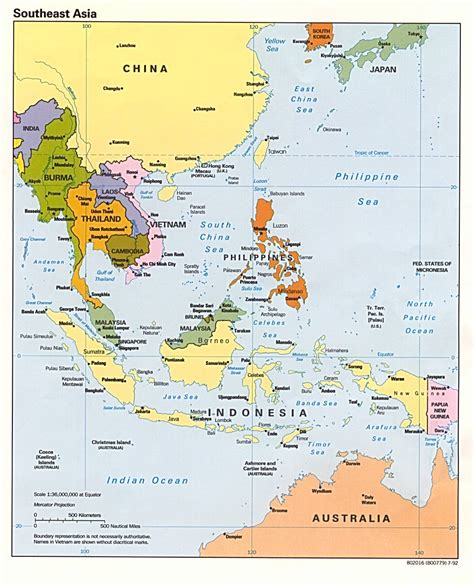 political asia map from the top