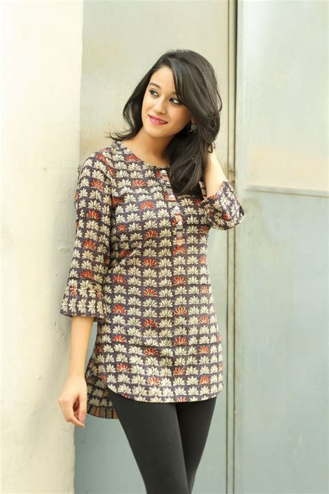 pattern of short kurti casual cotton prints summers easy fashion women