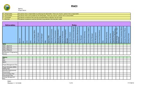 raci template 4 best images of raci chart for planning exle raci