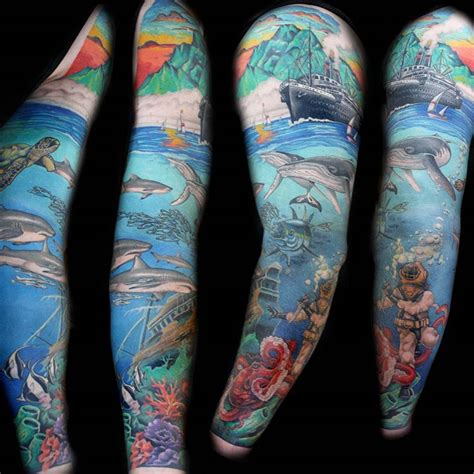 ocean themed tattoos my themed sleeve by mcdermott iluminati
