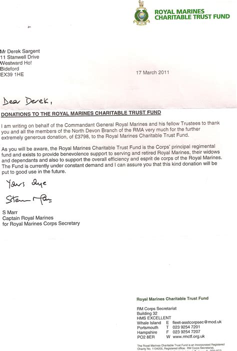 appreciation letter to ex royal marines association appreciation letters
