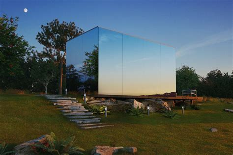 mirrored house mirrored prefab houses by 214 214 d install in 8 hours curbed