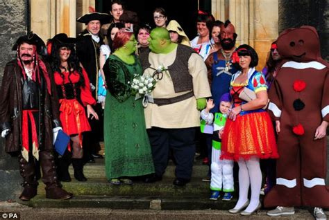 are you green with envy dress up as shrek and princess fiona for themed wedding