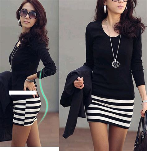 Dress Model Style Black White Fashion Impor 1 plus size korean popular models large size fashion sleeve slim striped dress black
