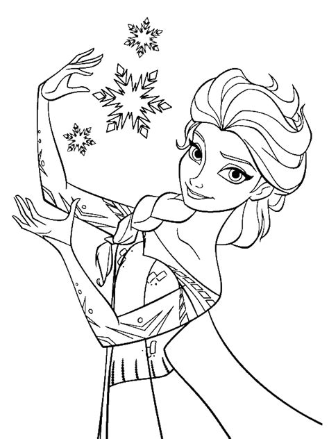 elsa  snow queen making snowflakes coloring page