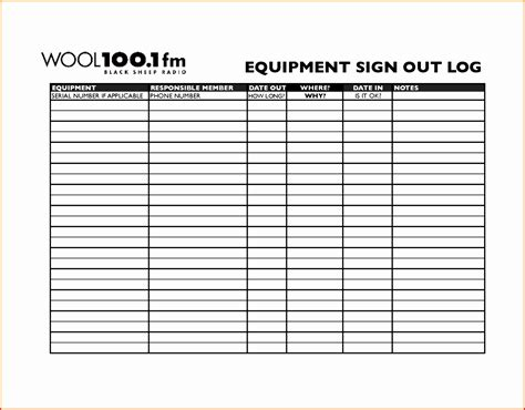 sample equipment sign out sheet 14 documents in pdf word excel