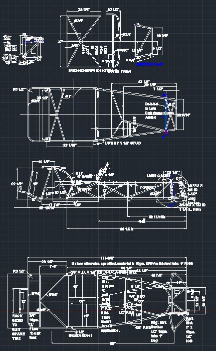 Lotus 7 Frame Plans Lotus 7 Series 2 Chassis Frame Dwg Cad 7th