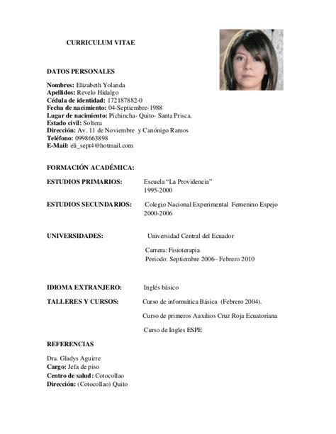 Modelo Curriculum Vitae Fisioterapia Curriculum Vitae