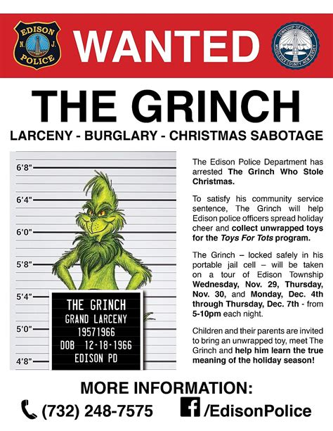 printable grinch poster grinch arrest in edison caught on video