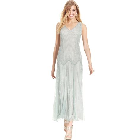 pisarro nights beaded drop waist dress lyst pisarro nights sleeveless beaded dropwaist gown in