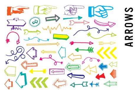 free doodle arrow vector arrows clipart bright colors illustrations on creative