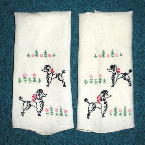 Handmade Towels - poodle embroidery on towels handmade