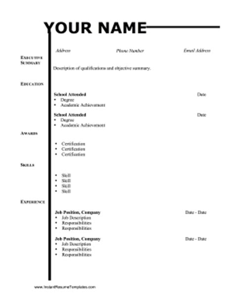 name lines resume template