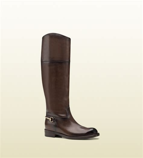 gucci leather horsebit boot in brown for lyst