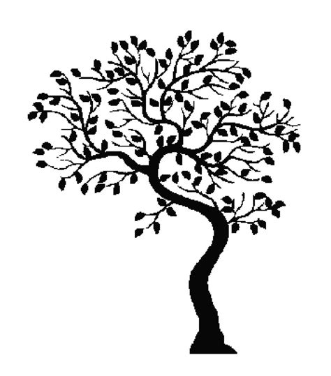 svg tree pattern tree silhouette handmade cross stitch pattern chart tree
