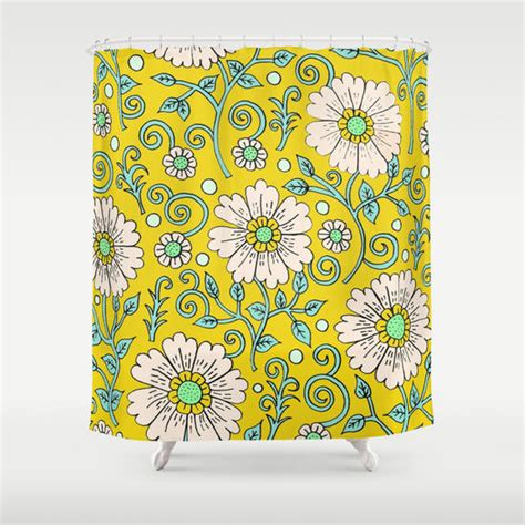yellow floral shower curtain lemon yellow floral shower curtain by from society6 shower