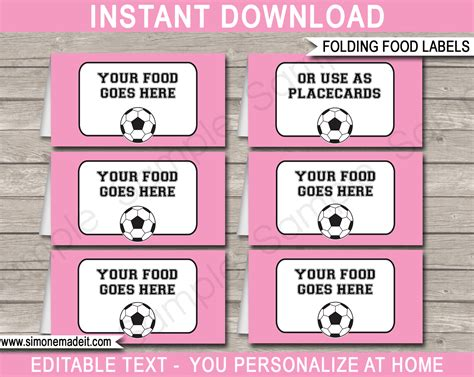 Food Label Place Card Templates by Soccer Theme Food Labels Place Cards