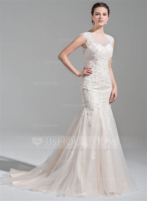 Court Wedding Dress by Trumpet Mermaid Scoop Neck Court Tulle Wedding Dress