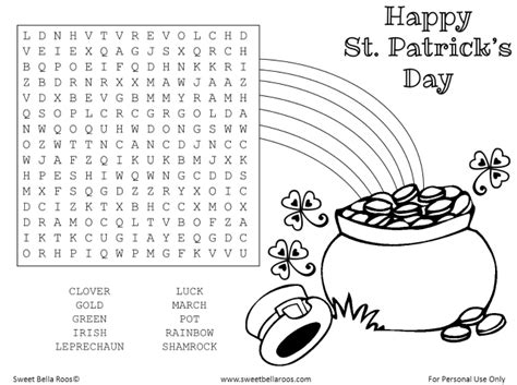 free st s day word search printable sweet