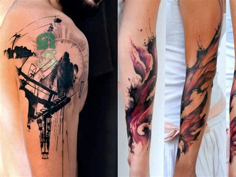 watercolor sleeve tattoo designs cool watercolor tattoos 2017 designsmag