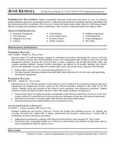 Sle Warehouse Manager Resume by Warehouse Resume Sle Getessay Biz