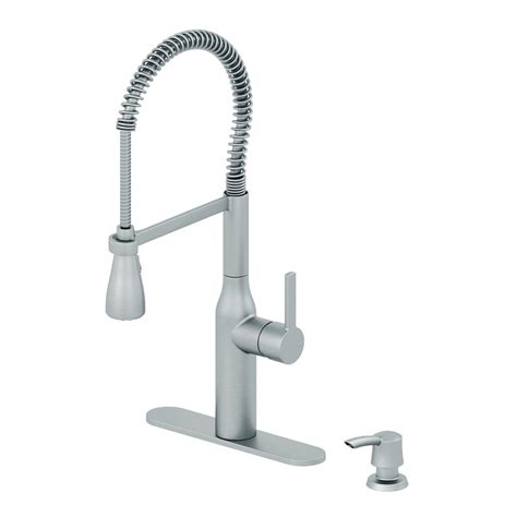 pull down kitchen faucet shop aquasource stainless steel pull down kitchen faucet