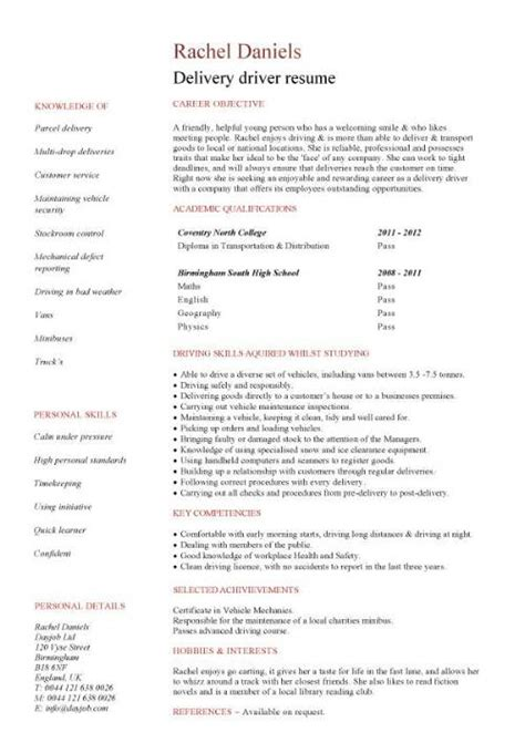 resume sle for driver graduate cv template student graduate career