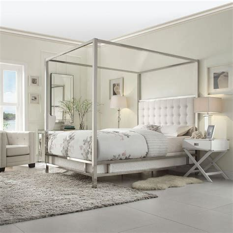 queen canopy bed homesullivan taraval white queen canopy bed 40e739bq