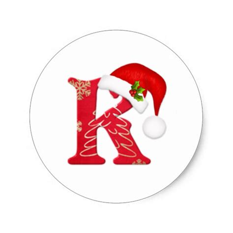 Gift Starting With Letter V Monogram Letter K Santa Hat Sticker Zazzle