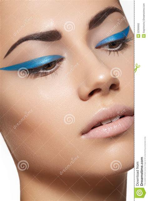 Eyeliner Make Up beautiful model with fashion eyeliner make up stock