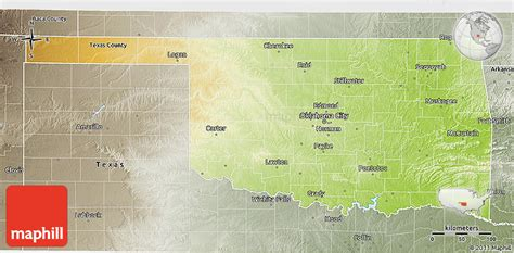 united states map of oklahoma physical 3d map of oklahoma semi desaturated