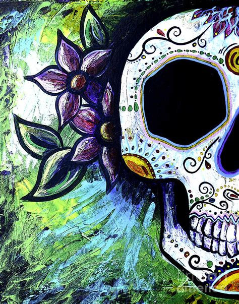 flower skull painting green flower skull painting by lovejoy creations