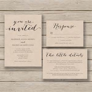 Wedding Invitations Printable Templates by Printable Wedding Invitation Template Rustic Invitation