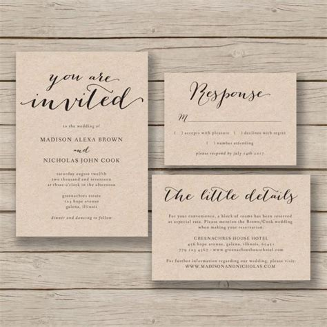 free wedding invitation suite templates printable wedding invitation template rustic invitation